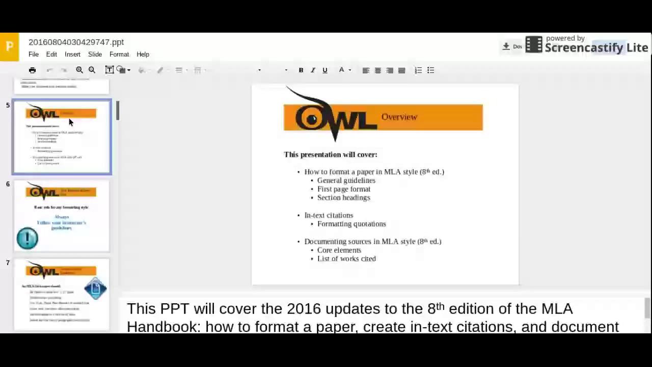 Mla (owl At Purdue) Video Tutorial