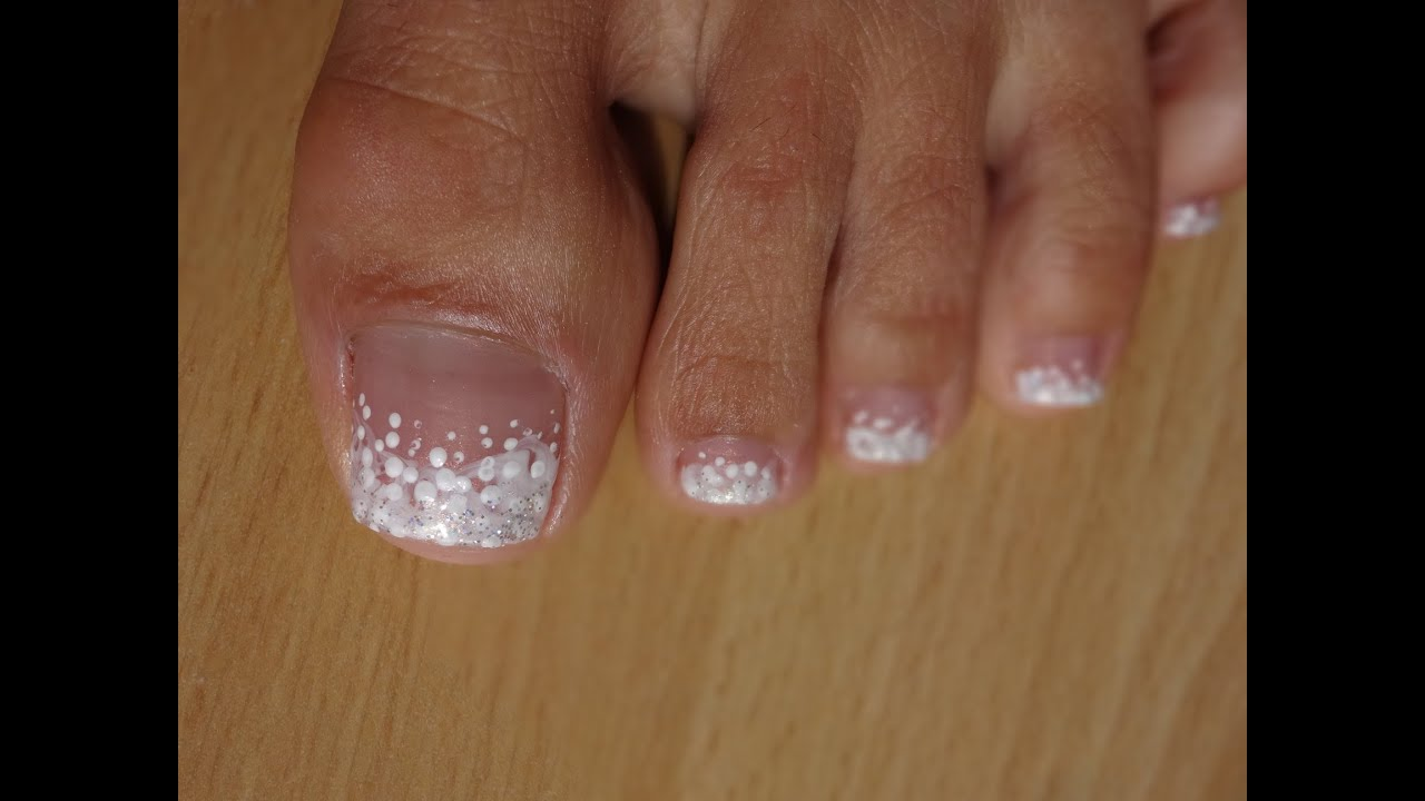 Toes Art Design French Pedicure White on white marble effect - YouTube