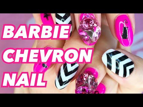 EASY CHEVRON NAIL ART TUTORIAL ♡ BARBIE NAIL ART | GEL NAILS AT HOME thumbnail