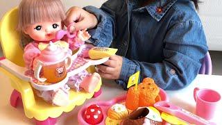 メルちゃん おもちゃ お世話ごっこ くまさんベビーチェアでご飯をあげて歯みがきもするよ!Mell-chan Toys Pretend Play Set