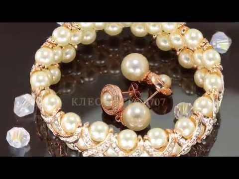 Богатый комплект с жемчугом и кристаллами Swarovski, покрытый золотом
