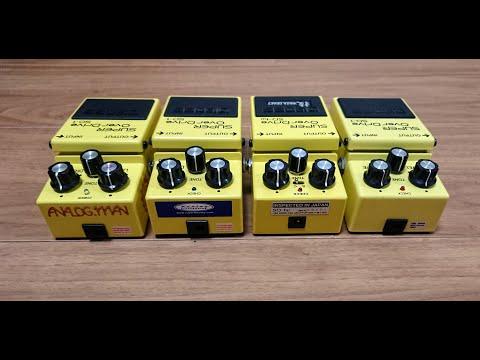 BOSS SD-1 1985 MIJ , SD-1W Waza Craft , Keeley 5star GE mod , Analog.man SD-1/TS-808 mod Test