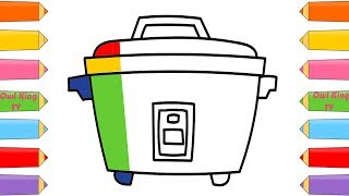 How to Draw Rice Cooker, Rainbow Finger Family Song | Coloring Pages for Kids with Owl King TV