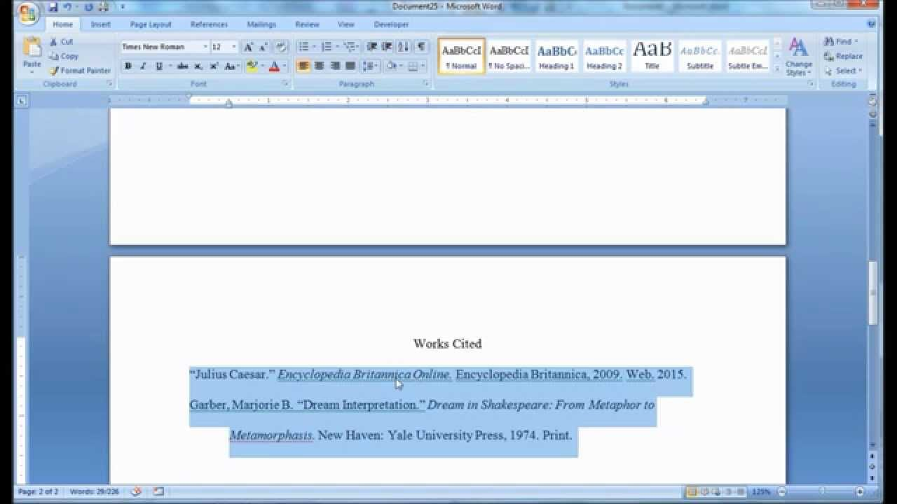 mla format works cited page set up in msword youtube