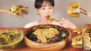 오늘은 간단하게 성게알 비빔밥, 성게알 튀김, 성게알 미역국 먹방 Sea Urchin bibimbap & Soup & Fried mukbang korean food