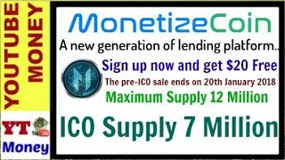 MonetizeCoin ICO - $20 FREE on Signup with Monetize Coin In Hindi