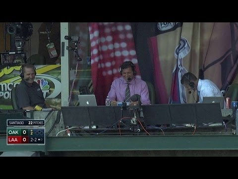 Color analyst Mark Gubicza ducks from foul