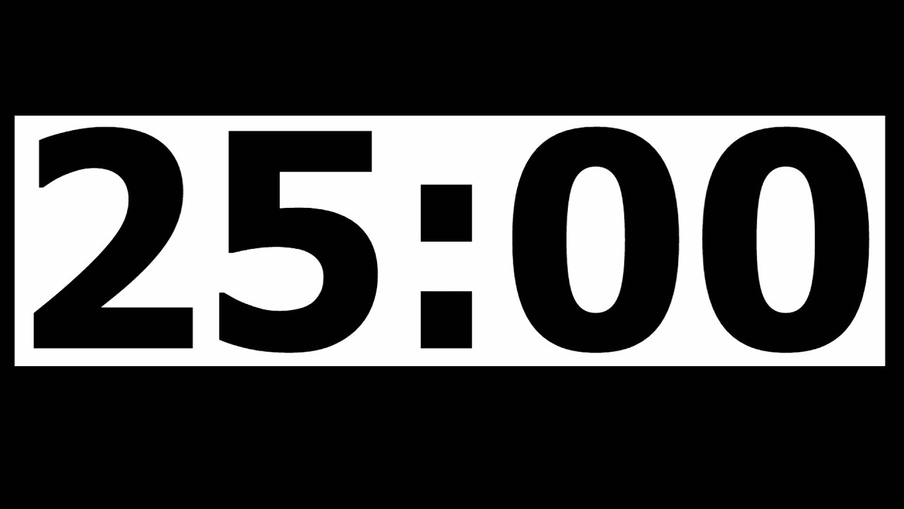 25 minute countdown timer with alarm
