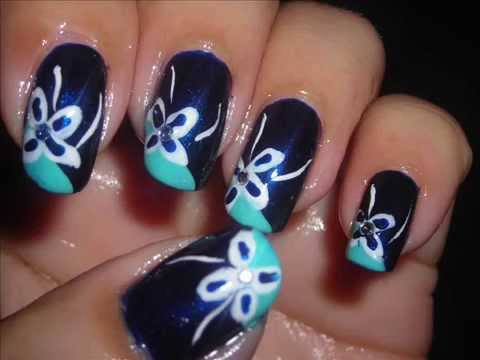 Nail art blue nails decoraci n de u as u as azules - Decoracion de unas colombianas ...