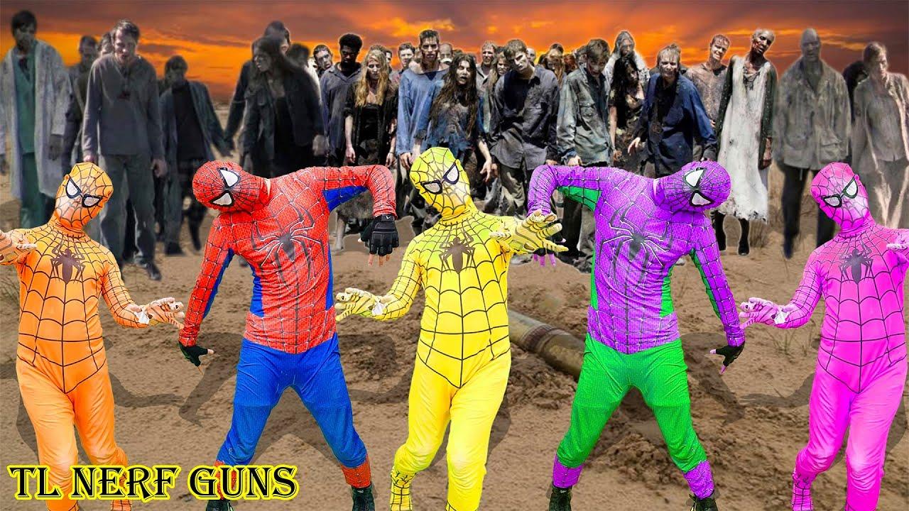 Superhero Nerf War:Patrol X Warriors Nerf Guns Fight Criminal Group Spiderman's Mind Control