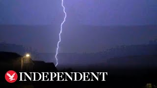 Lightning strikes Scotland and northern England during dramatic thunderstorm