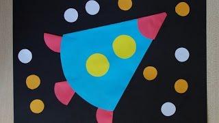 Ракета из кругов. Аппликация из цветной бумаги. Поделки на день космонавтики.(, 2017-04-01T14:35:21.000Z)
