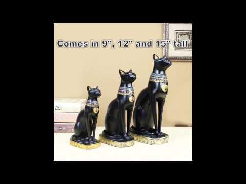 Resin black egyptian style cat goddess bastet status