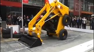 skid steer stunts, amazing skid steer dancing videos, wheel loader tricks
