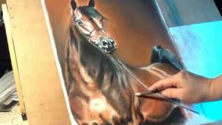 Fast drawing - arabian stallion in soft pastel.wmv