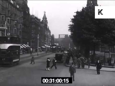 1946 Edinburgh Street Scenes and Station, 1940s UK Archive Footage