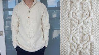 Мужской свитер спицами. Перед. Часть2-я из 4-х