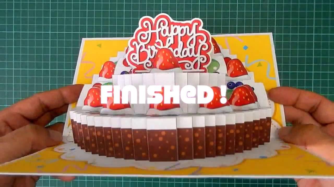 Pop Up Birthday Cake Card Tutorial 2 Layers Youtube