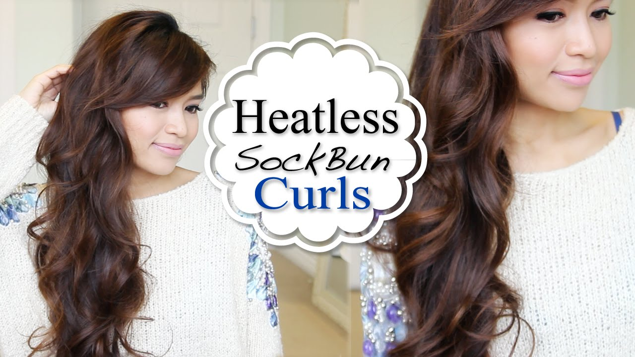 Overnight Heatless Sock Bun Curls Hair Tutorial Youtube