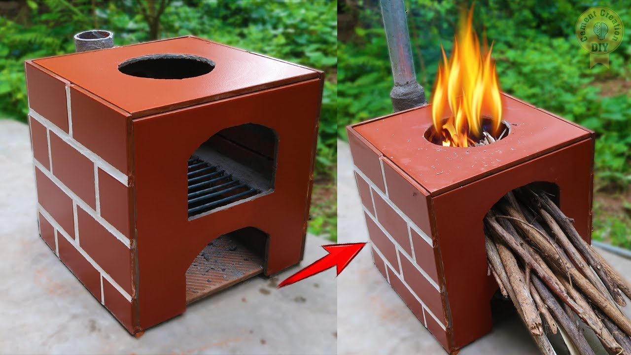 Build so beautiful outdoor smokeless wood stove/ Fireplace/Grill stove from cement/ DIYCC #18