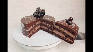 торт ШОКОЛАДНАЯ МОЛОЧНАЯ ДЕВОЧКА с ИЗЮМИНКОЙ Выпекаем ОДНИМ КОРЖОМ без миксера Очень вкусный торт