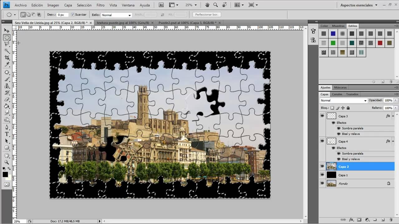 Como hacer el efecto Puzzle en Photoshop - YouTube