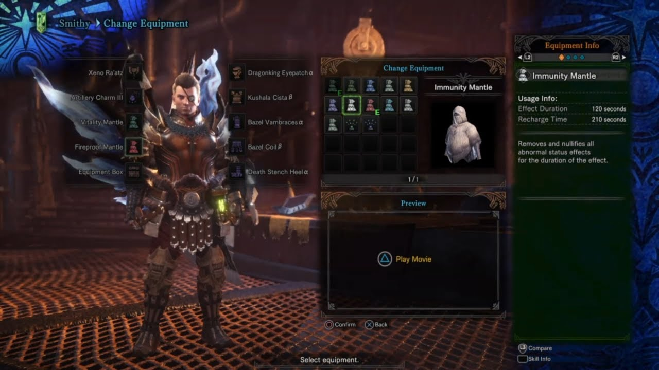 Mhw how to get immunity mantle youtube for Decoration jewels mhw