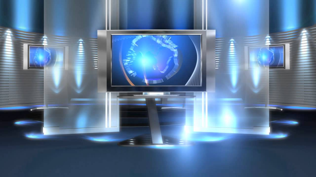 Free Virtual News Studio Background Virtual Set Blue Long