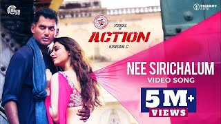 Action  Nee Sirichalum Video Song  Vishal Tamannaah  Hiphop Tamizha  Sadhana Sargam  SundarC