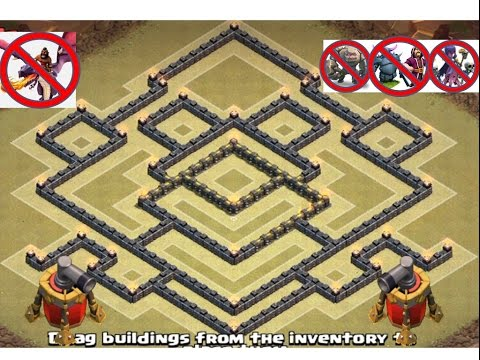 TOWN HALL 9 (TH 9) WAR BASE ANTI-2 STARS EPIC BEST NEW DESIGN