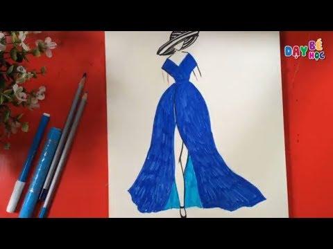 Tập thiết kế thời trang | Hướng dẫn vẽ váy đầm dự tiệc màu xanh dương tuyệt đẹp | Dạy bé học