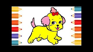 Drawing House for Learning Colors and Coloring Pages a Dog for ...