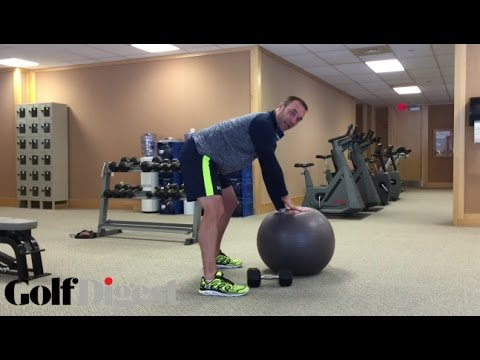 Dumbbell Bent-Over One-Arm Rows On A Physio Ball  | Golf Digest