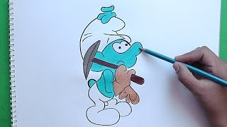Dibujando y coloreando a Pitufo Minero (Los Pitufos) - Drawing and coloring Smurf Mining