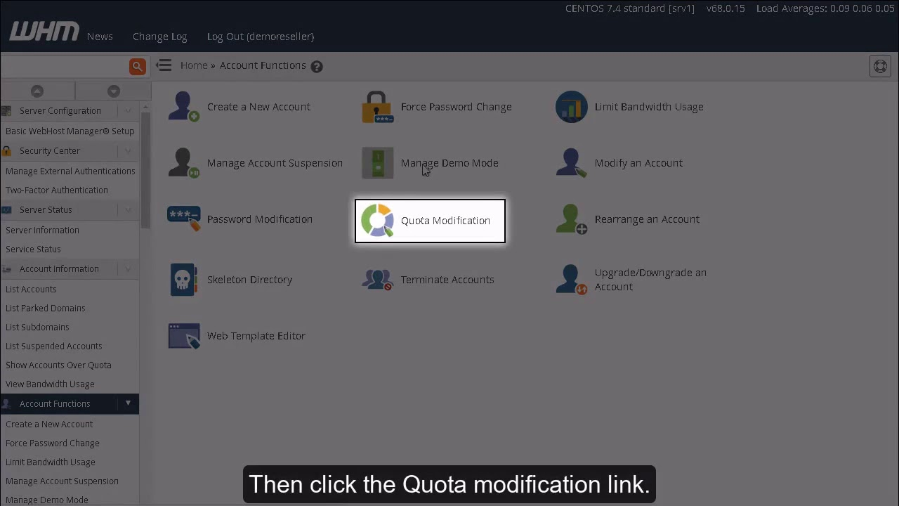 How to modify an accounts quota in WHM?