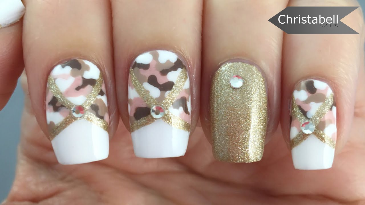 Camo Glam Nail Art Tutorial Camo Nails With A Girly Twist Youtube