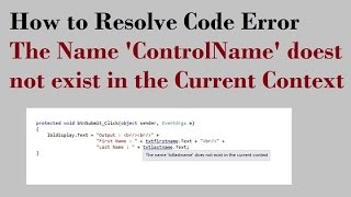 How to fix Asp net error does not exist in current context