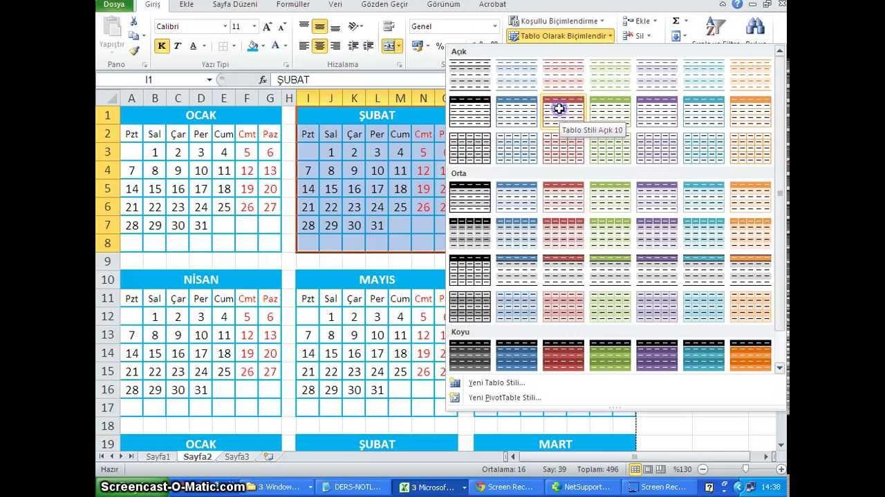Excel 2010 Tablo Kenarlık Uygulama Takvim