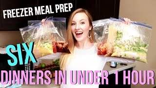 CROCKPOT FREEZER MEAL PREP | FREEZER MEALS | 6 DINNERS IN UNDER 1 HOUR