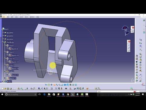 CATIA V5 Free Advance Course Design Brake Caliper|angular extrude,position sketch,close arc,flange|
