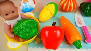 Baby Doll and fruit vegetable cutting toys and Kinder Joy Surprise eggs
