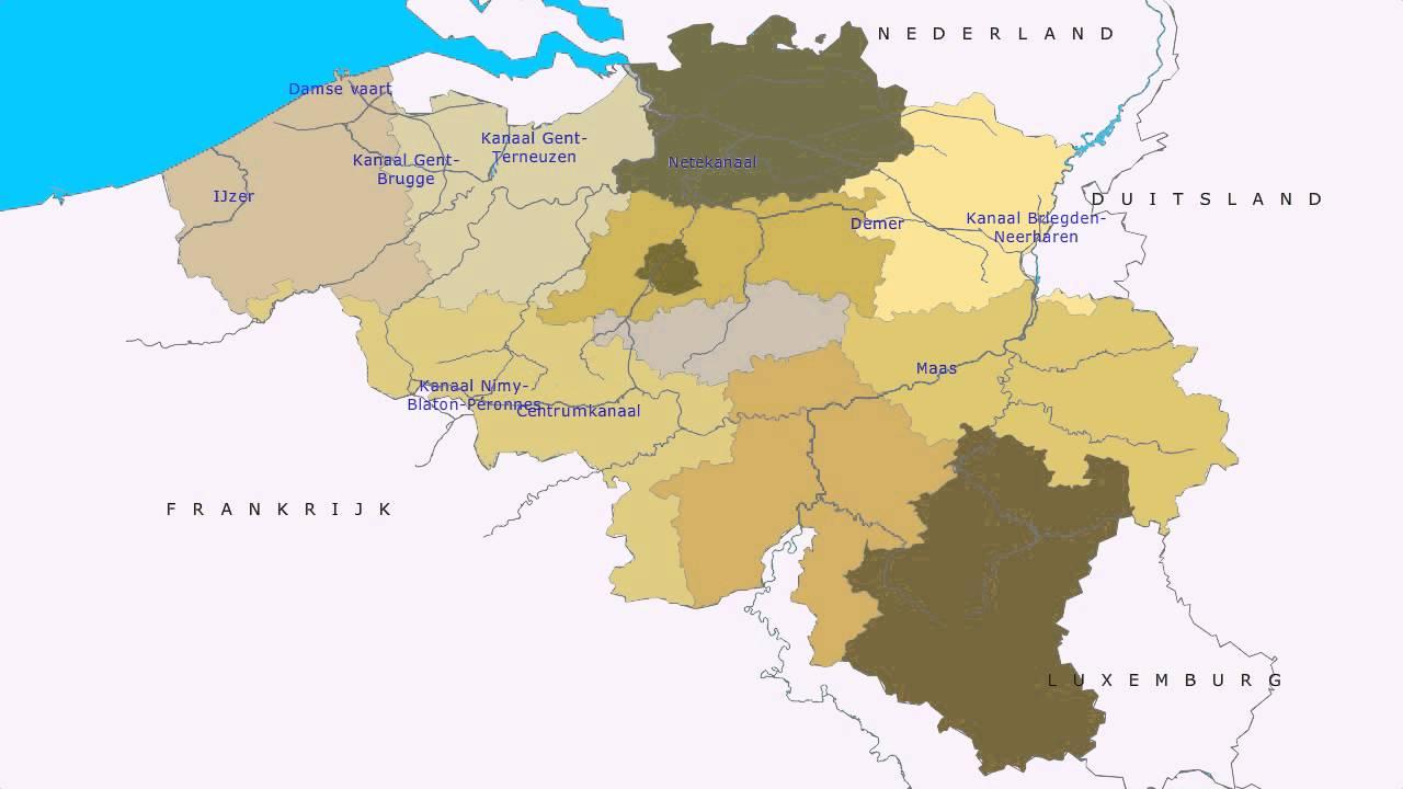 Topografie Belgie Rivieren En Kanalen Youtube