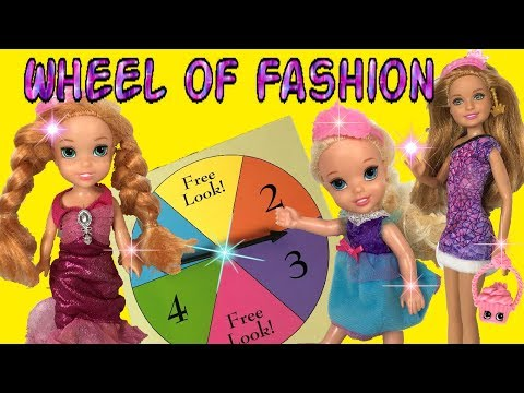 Elsia and Annia Play Lucy's Spin the Wheel of Fashion Game ! Toddlers Fashion Dress up Barbie