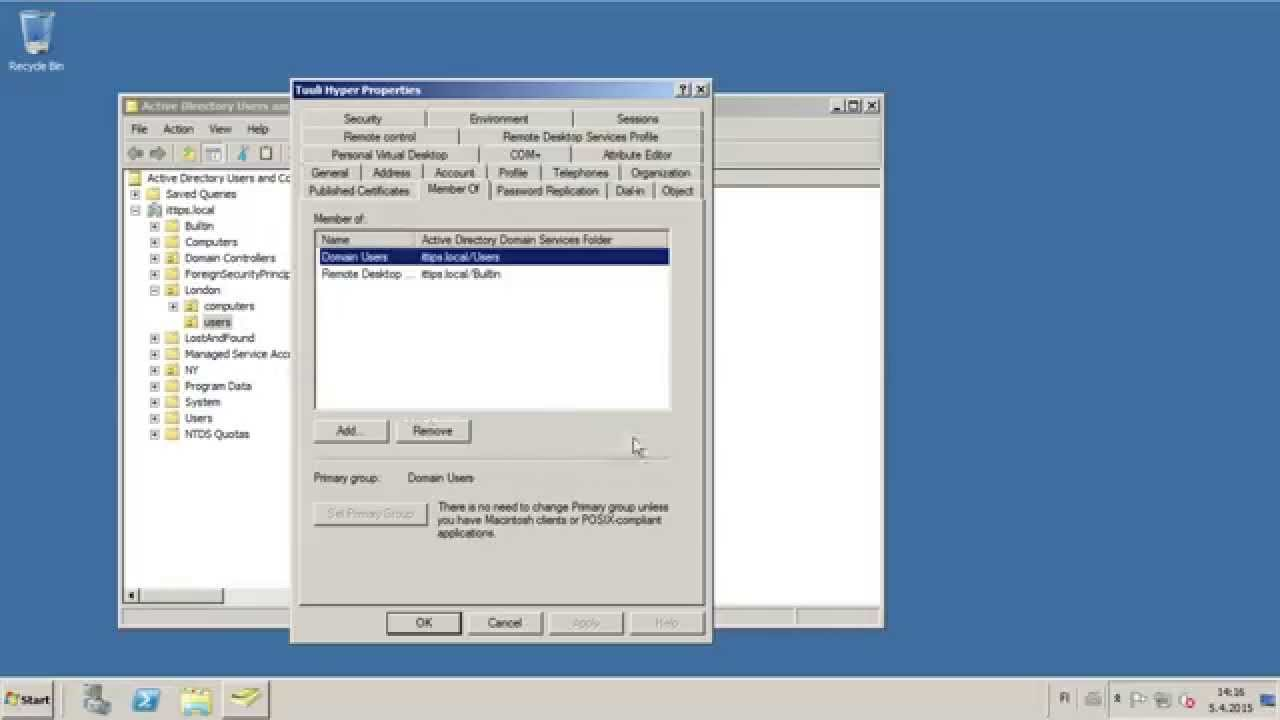 How to enable remote desktop access in AD in Windows server 2008r2
