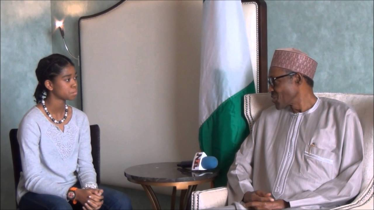 Education Advocate and Filmmaker, Zuriel Oduwole interviews President Muhammadu Buhari. (Image Source: YouTube)