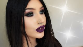 Dramatic silver glitter smokey eyes & purple lips | makeup tutorial