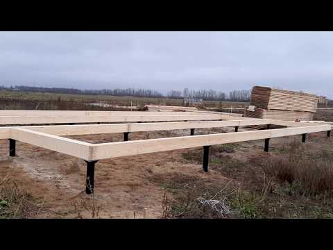 Обвязка брусом составного сечения (пакет досок) для каркасного дома в стиле хай тек с плоской крышей
