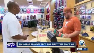Local Miami Dolphins Fans celebrate first playoff berth in almost a decade