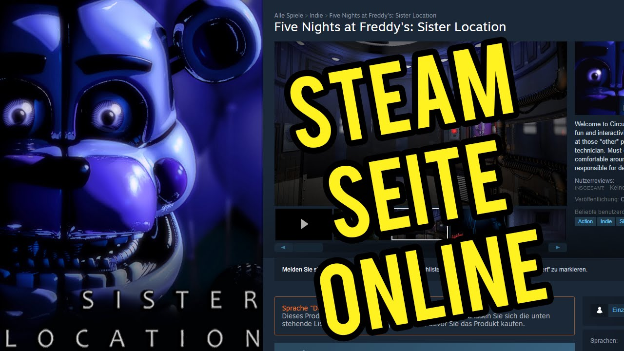 SISTER LOCATION STEAM SEITE IST ONLINE - FNAF Sister Location  (Deutsch/German) - Indie Horror Game