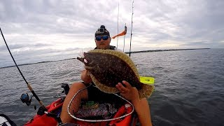 Crummy weather doesn't bother Jumbo Fluke and Black Sea Bass | Montauk Kayak Fishing